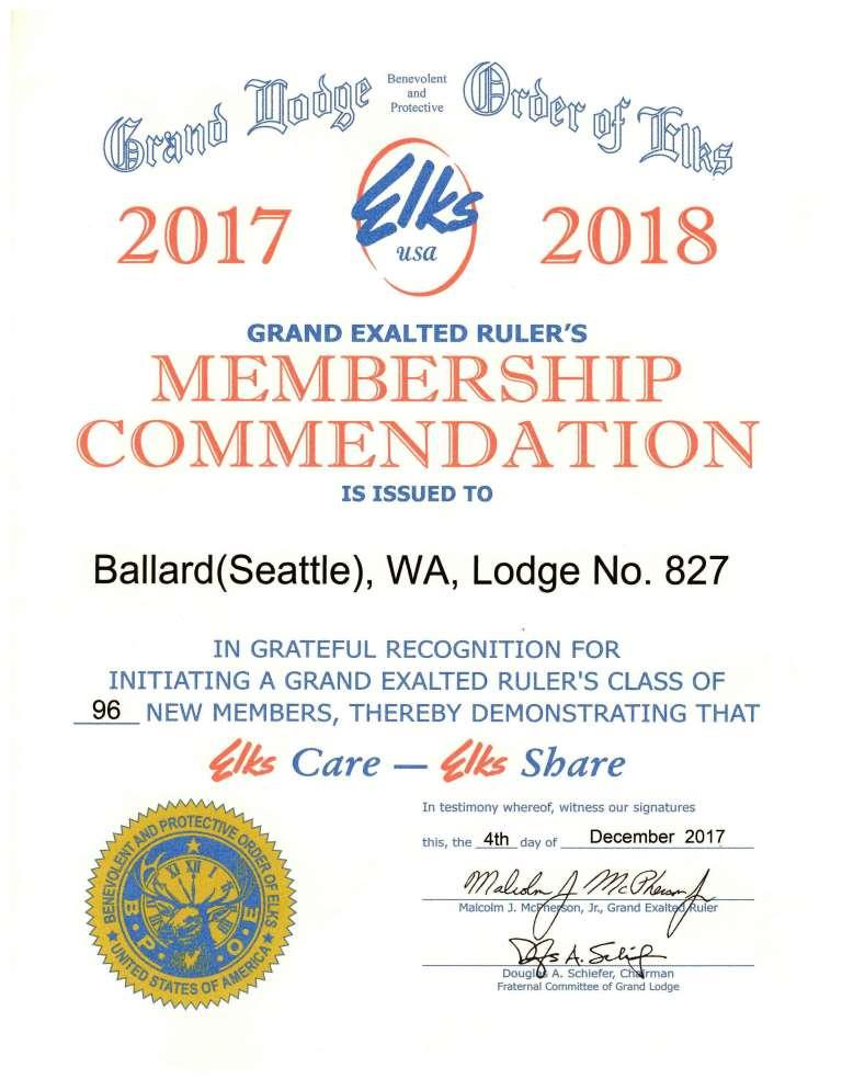 Membership Commendation 827